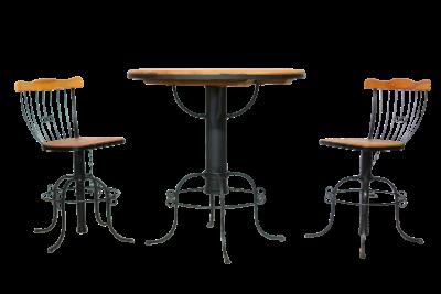 Bistrô e banquetas de madeira e ferro com altura regulável 3