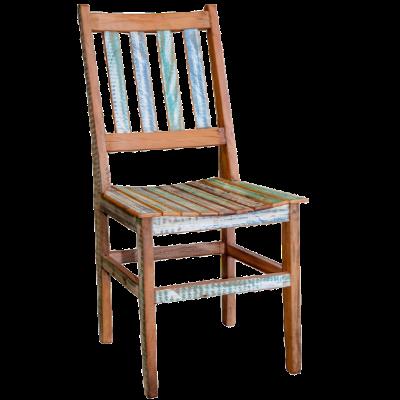 Cadeira de Madeira Modelo Ripada Acabamento Colorido - CAD019