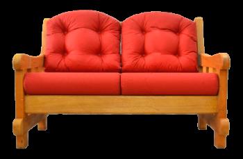 Sofá da marca Arte Velha com tapeçaria vermelha