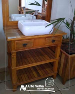 aparador de madeira de demolição aparador para cuba de banheiro aparador para lavabo aparador em taubaté moveis de madeira taubaté